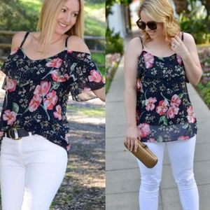 Cabi Floral Cold Shoulder Convertible Top